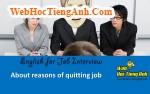 Về các lý do nghỉ việc - Tiếng Anh phỏng vấn xin việc làm