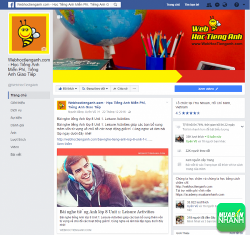 Fanpage Facebook WebHocTiengAnh - Bee Learn English
