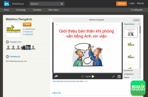 SlideShare WebHocTiengAnh - Bee Learn English