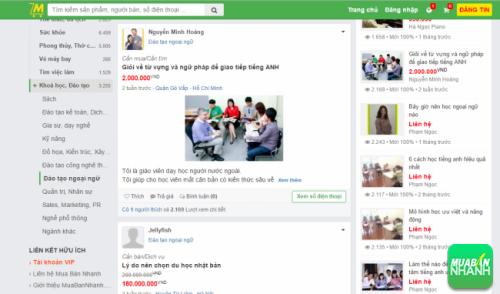 Các chương trình, lớp học Đào tạo Ngoại ngữ tại Mạng xã hội Mua Bán Nhanh
